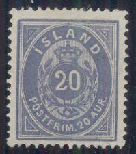 ICELAND #17a (15a) 20aur ultramarine, unused no gum , Scott $800.00