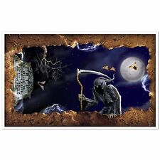 Large Halloween OPEN GRAVE PROP Ceiling Party Decoration GRIM REAPER Tombstone