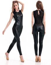 Frauen Wet Look Zippo Catsuit Kostüm Bodysuit Overall Jumpsuit  Schwarze 32-36