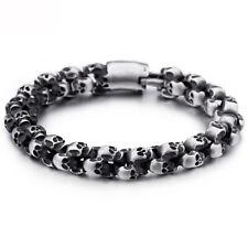 316L Stainless Steel Cuff Bangle Bracelet 12mm Men Gothic Punk Skull Silver Tone