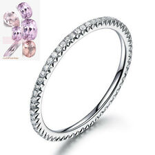14K White Gold Full Eternity Wedding Diamonds Band Stackable French V Micro Pave