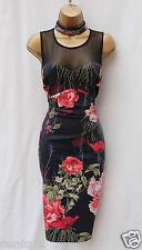 Rare Karen Millen Vintage Floral Satin Mesh Cocktail Summer Wiggle Dress 14 UK