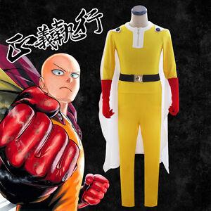 Halloween One Punch Man Saitama Cosplay Costume Set jumpsuit super man costumes