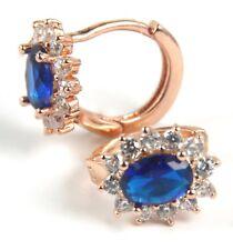 Women's Rose Gold plated Blue Crystal small hoop Huggie Earrings