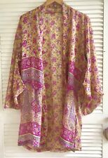 Kimono Silk ISHKA Yellow Pink Lilac Gold Thread One Size