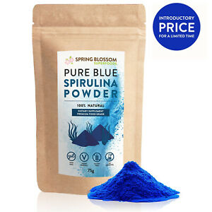 75G BLUE SPIRULINA POWDER E20 PURE PHYCOCYANIN NATURAL FOOD COLOURING SUPERFOOD