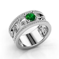 Gorgeous Women Silver Rings Round Cut Emerald Wedding Engagement Ring Size 10