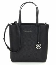 Michael Kors Hayley Medium North South NS Perforated Leather Tote (Black)