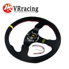 350mm Suede Leather Flat Style Steering Wheel DRIFT RALLY DRIFTING SPORTS