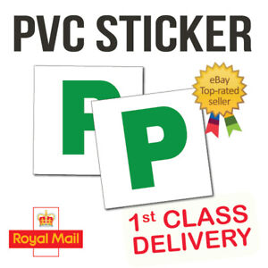 2x New Driver P Plate Stickers Safety Car Learner Just Passed Vinyl Signs