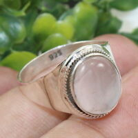 Solid 925 Sterling Silver Ring Rose Quartz Gemstone Jewelry