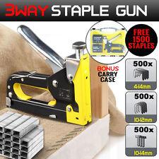HEAVY DUTY STAPLE GUN TACKER UPHOLSTERY STAPLER + 1500 Nails Fastener Tool Kit