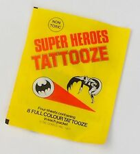 Vintage Super Heroes Tattooze Batman Superman FC Comics Letraset 1977