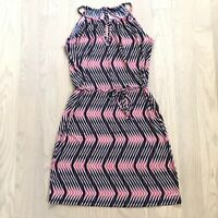 Banana Republic Womens Pink Navy Blue Print Halter Sleeveless Belt Dress Size XS