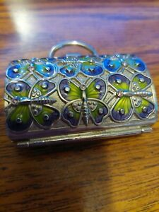 JUDITH LEIBER FOR NEIMAN MARCUS GREEN ENAMELED BUTTERFLY MINI PURSE
