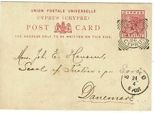 Cyprus 1886 postal card to DENMARK