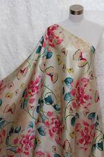 100% Charmeuse Silk Fabric Butterflies Flower M70 Per Yard