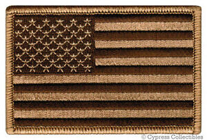 AMERICAN FLAG EMBROIDERED PATCH iron-on US DESERT TAN SUBDUED SHOULDER USA new