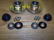 """Pair of Cast 505 Un-Braked Trailer Wheel Hubs 4"""" PCD with 1"""" L44643 Bearings"""