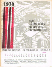 Calendario 12 Grabados de Artistas Puerto Rico Tufino Martino Homar Balossi 1970