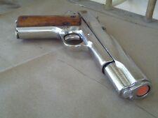 1911 Nickel Replica Metal Pistol 45 Colt Gun NON-FIRING Auto Gangster Denix Prop