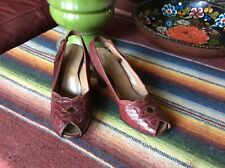 1940's Burgundy Alligator Open Toe Heel Strap pumps Shoes 4