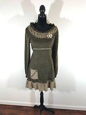 John Fashion Size Medium Brown Wool Blend Boho Sweater Dress/Tunic M