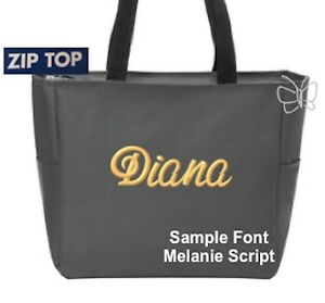 Custom Embroidered Personalized Monogrammed Tote Bag Charcoal Grey  FREE NAME