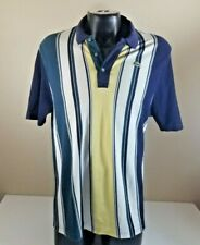 Lacoste Men Short Sleeve Striped Green Blue Cotton Polo Casual T-Shirt Size 7