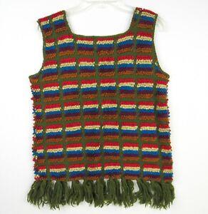 Vintage 70s Brittony Virgin Wool Tank Sweater Vest M/L Green Colorful Fringe