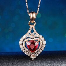 Luxury Ruby Crystal Gemstone Triple Layer Heart 18K Rose Gold Filled Necklace