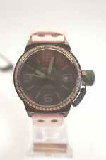 TW Steel TW911 Canteen Black Dial Pink Leather Crystal Watch