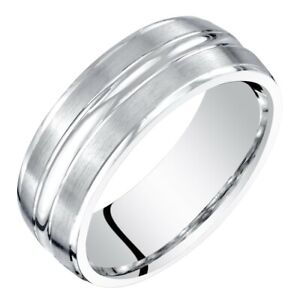Men's 14k White Gold Wedding Ring, 7mm, Comfort Fit Band Sizes 8 to 14