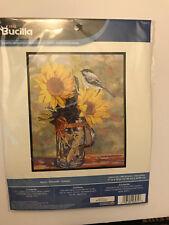 Bucilla SUNNY Cross Stitch Kit - Chickadee Bird & Flowers Design - NIB
