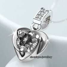 HOT Xmas Gifts For Her - 925 Silver CZ Crystal Necklace Chain Pendant Love Women