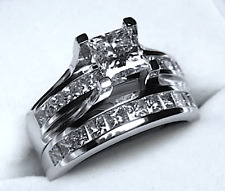 2.65CT PRINCESS CUT DIAMOND ENGAGEMENT RING BRIDAL SET 14K WHITE GOLD PD983R