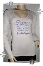 Haut T-shirt Manches Longues Blanc et Violet Guess Taille M