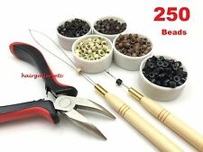 Feather Hair Extension TOOL KIT 250 SILICONE MICRO BEADS PLIERS HOOK LOOP I TIP