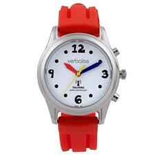 New Red Strap & Silver Radio Controlled Talking Watch Multi Coloured Hands