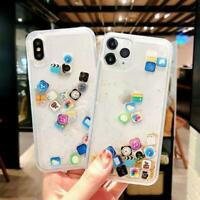 Icon Moving Glitter Quicksand Case Cover For iPhone App X SE XR XS 8 11 MAX D8V0