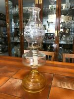 "Vintage P&A Mfg Co, Thomaston, Conn, Amber Hurricane Oil Lamp, 18 1/4"" Tall"
