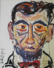ORIGINAL Lincoln Self Taught FOLK oil OUTSIDER PappyB RAW Expressionism PAINTING