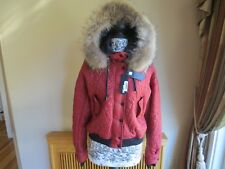 NWT Just Cavalli Women's Real Fur Hood  Winter Jacket US 8 EU 42