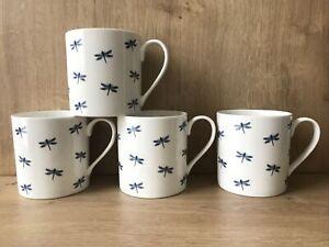 4 x Fine China White Dragonfly Mugs Tea Coffee Nature Bugs Gift Garden