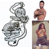 Compass Temporary Tattoo - Wind Rose Compass Rose Waterproof Mens Womens Kids