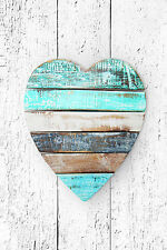 STUNNING CANVAS SHABBY CHIC STLYE WOODEN HEART PHOTO #794 A1 PICTURE WALL ART