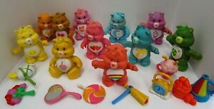 Vintage Care Bears Poseable Figures Lot of 11 With Accessories 1980s Kenner
