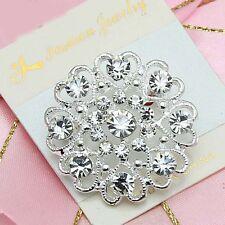 Wedding Party Flower Brooch Pins Women Bridal Silver Plated Rhinestone Crystal