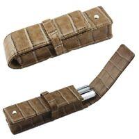 Etui Deux Stylos. Façon cuir crocodile marron glacé