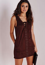Missguided Burgundy Faux Suede Lace Up Shift Dress Size 8 Brand New